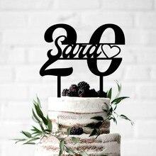 Nome personalizado & idade do bolo de aniversário, brinquedo de bolo, acrílico personalizado, preto 20th festa de feliz aniversário das crianças presentes da festa