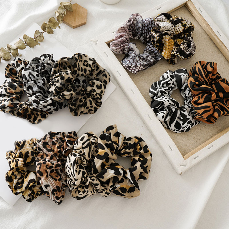 Hot Sale Leopard Printed Hair Scrunchies Girls Ponytail Holder Elastic Hair Bands Snake Print Women Accesories Hairbands 2019