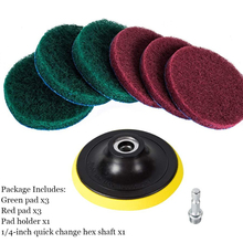 7Pcs เจาะ Sticky แผ่นชุดแปรงทำความสะอาดล้อรถแปรงขัดทำความสะอาดแปรงขัด Buffing Disc