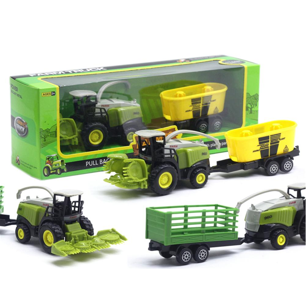 1/55 Diecast Farm Truck Tractor Friction Car Model Kids Educational Toy Gift Crop Cutter Spuit Power Plant For Children