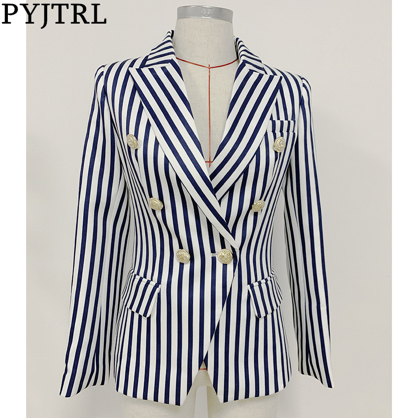 PYJTRL Women Double-breasted Classic Striped Slim Suit Jacket