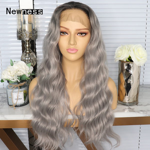 Image 1 - Ombre גריי ארוך Loose גל תחרה קדמי פאות עם שיער טבעי חום עמידות פאות עבור נשים