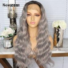 Ombre สีเทายาวหลวมคลื่นลูกไม้ด้านหน้าด้านหน้า Wigs ธรรมชาติ Hairline ทนความร้อน Synthetic Lace Wigs สำหรับผู้หญิง