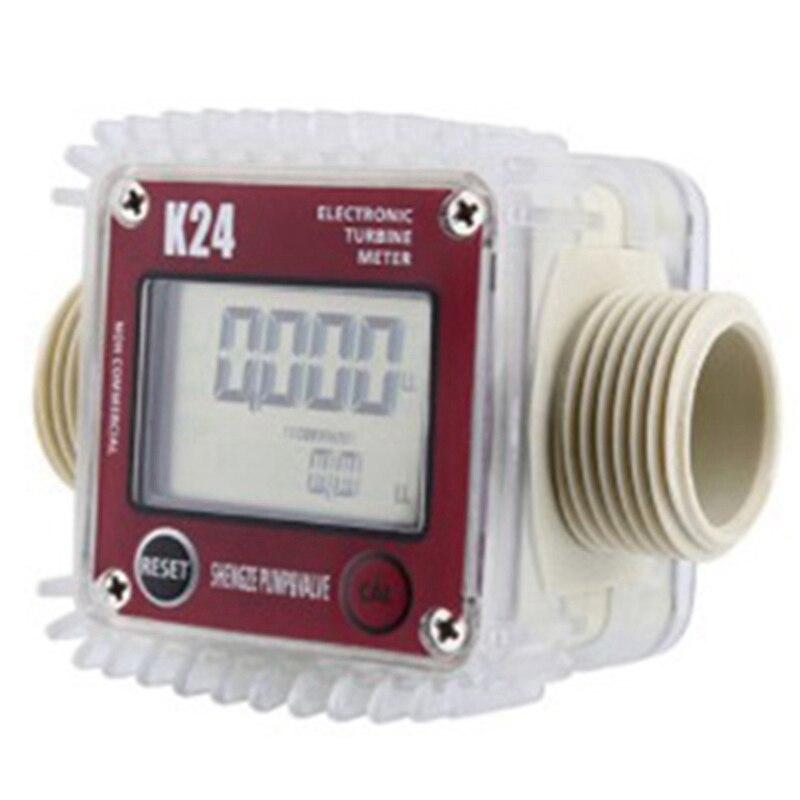 Aletler'ten Su saatleri'de Dijital Lcd K24 Akış Ölçer Türbin Yakıt Akış Test Cihazı Kimyasallar Su Deniz Sıvı Akış Ölçer Ölçme Araçları title=