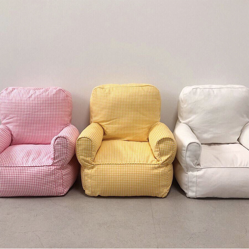 Nordic BABY Single People Mini Sofa  Bean Bags  Bed Room Chair  Kid Chair Filling Foam Inside. One Seat Kid Furniture