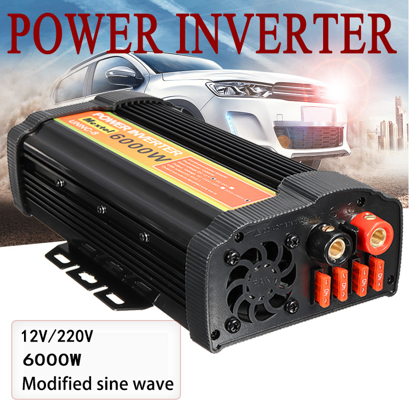 Dual USB Max 12000 Watts 6000W Power Inverter DC 12 V to AC 220 Volt Car Adapter Charge Converter Modified Sine Wave Transformer Car Inverters     - title=