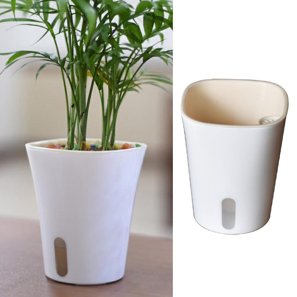 Self Watering Plastic Planter Modern Decorative Small Planter Pot For Aloe Herbs