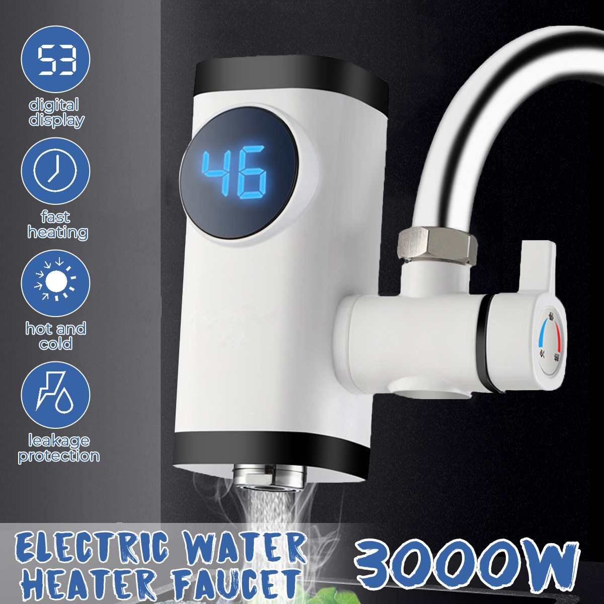 3000W Kitchen Faucet Electric Faucet Water Heater Instant Hot Water Digital LCD DisplayElectric Tankless Fast Heating Water Tap