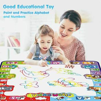 Magic Water Drawing Mat 78*78CM Doodle Mat & Drawing Pens & Stamps Set Painting Board Educational Toys for Kids 80x60cm water drawing mat