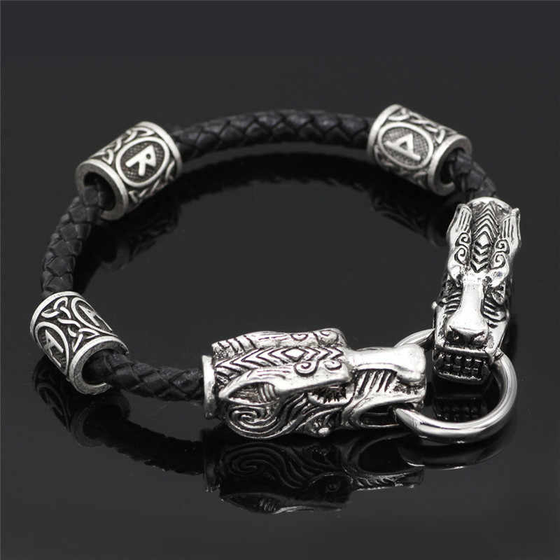 Womens Mens Black Leather Rope Dragon Silver Viking Rune Wolf Bracelet Wristband
