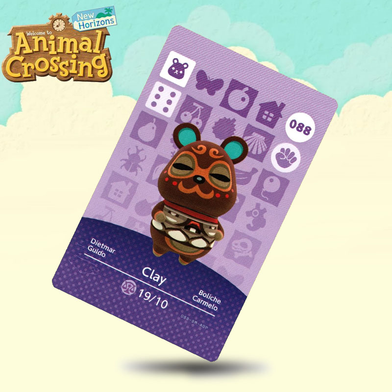 088 Clay  Animal Crossing Card Amiibo Cards Work For Switch NS 3DS Games