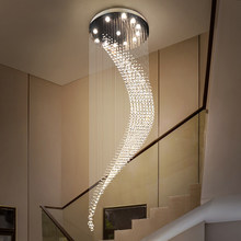 Modern Staircase Crystal Chandelier Luxury Spiral Design Hall Light Fixture Living Dining Room Suspension Wire Cristal Lamp Loft