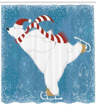 Oso Polar con sombrero de Navidad y bufanda patinaje sobre hielo copos de nieve ornamentales y Swirls tela decoración de baño