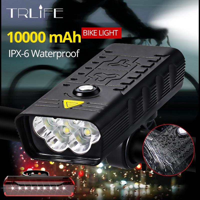 10000 мАч 5 светодиодов, велосипедный светильник Usb Перезаряжаемые 8000lm велосипед светильник флэш-светильник для отдыха на открытом воздухе MTB ...