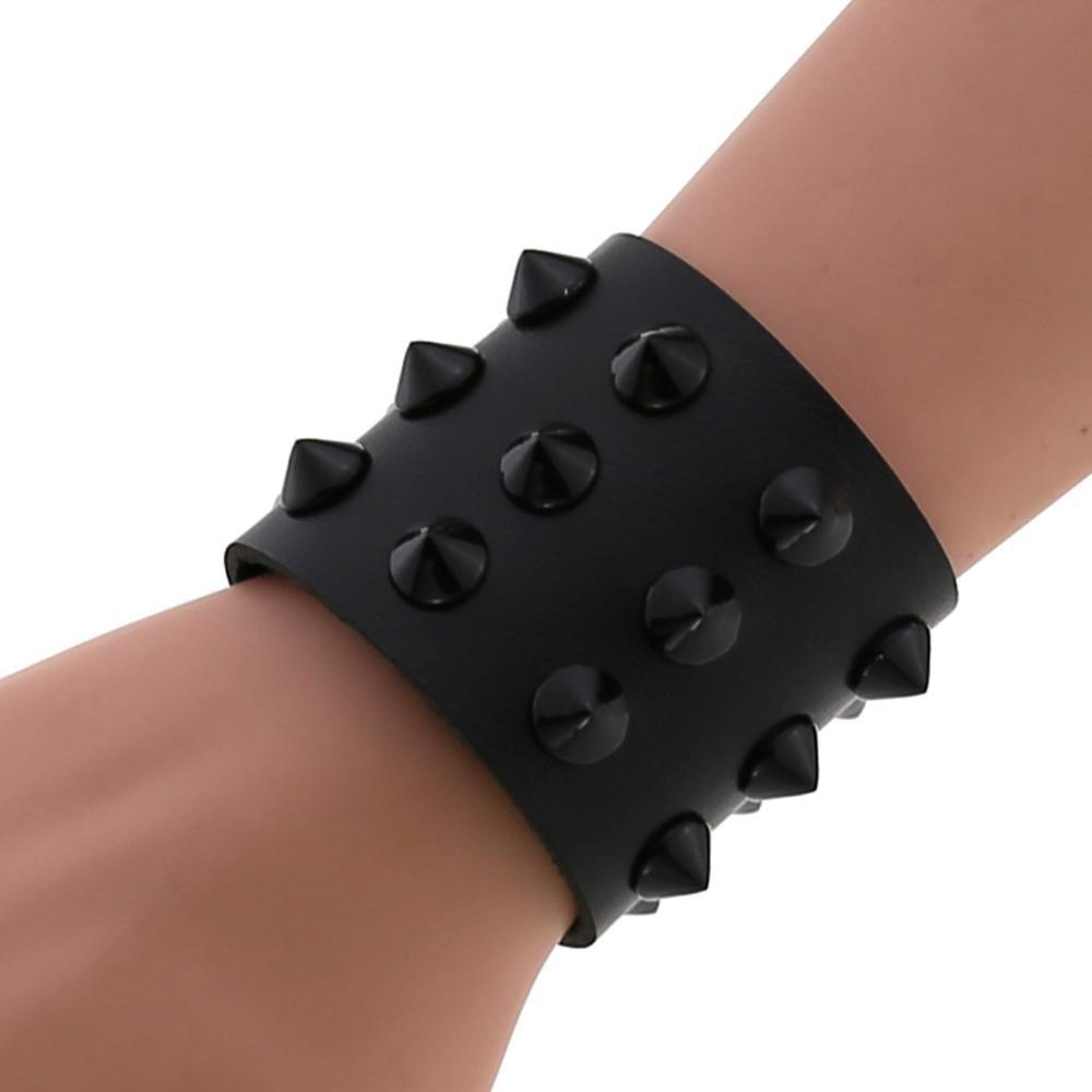 Vegan Leather Spike Bracelet Punk Wide Snap Button Wrap Bracelets Wristband for Men Women Gothic Emo Rock Armbands
