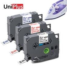 UniPlus 12/18mm Label Tape FA3 FA3R FA231 Fabric Tapes Fabric Iron on Clothes FA241 FA4 Compatible Label Maker Black on White