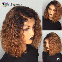 Curly bob lace front wig for black women 1B27 Ombre 13x4 lace wig Pre Plucked Brazilian non-Remy human hair wig with baby hair ombre lace front human hair wig for black women colored deep wave wig 13x4 brazilian hair frontal wig pre plucked remy brown wig
