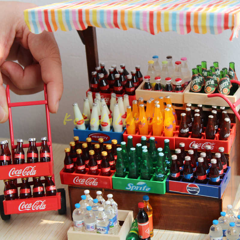 5pcs 1:12 scale miniature dollhouse drink bottle mini food play kids kitchen toy