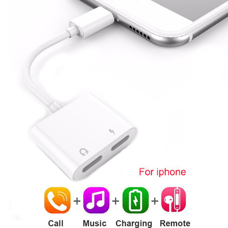 3.5mm 2 In 1 Lighting Charger Listening Adapter Charging Adapter Jack AUX Adapter For IPhone 11 X 7 8 Plus Headphone Splitter