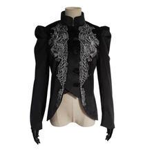 Женская винтажная куртка с длинным рукавом Черный жакет в готическом