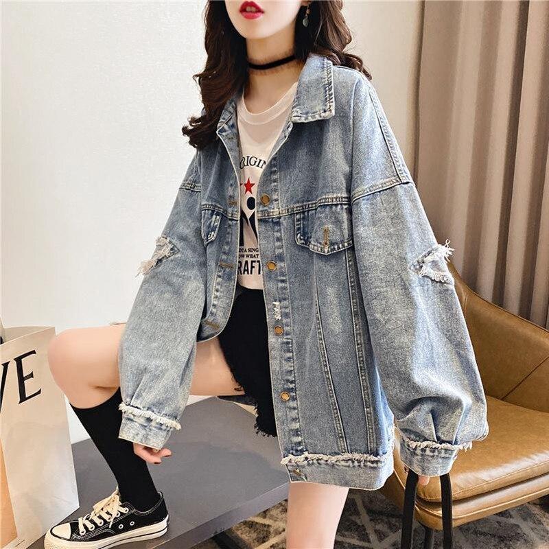 Casual Women Denim Jacket Loose Style Ripped Streetwear Autumn Bomber Jacket Harajuku Jeans Jacket Plus Size Female Coats 2020