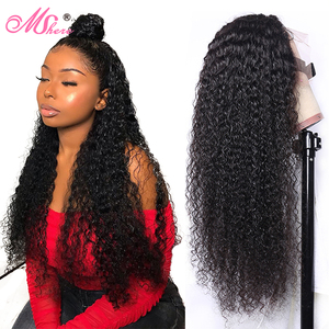 Mshere Deep Curly Lace Closure Wigs 13*4/6 Lace Front Human Hair Wig With Baby Hair Pre Plucked Remy Natural Wave Wig For Women(China)
