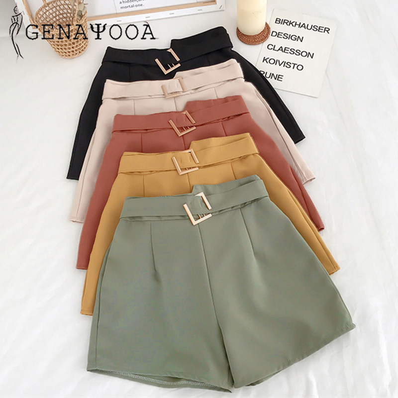 Genayooa Shorts Women Casual Summer 2020 Mini High Waist Shorts Wide Leg Harajuku Korean Short Feminino Women Shorts Fashion