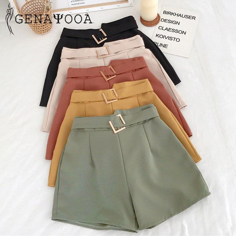 Genayooa Shorts Women Casual Summer 2020 Mini High Waist Shorts Wide Leg Harajuku Korean Short Feminino Women Shorts Fashion