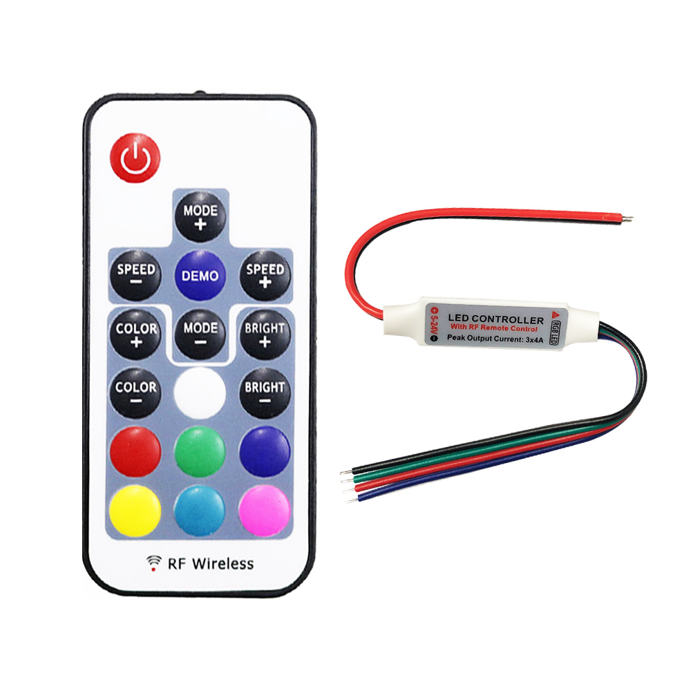 DC 5V-24V 12A RGB LED Controller With 17-key RF Wireless Remote Control Dimmer For 5050 3528 5630 LED Strip Lights