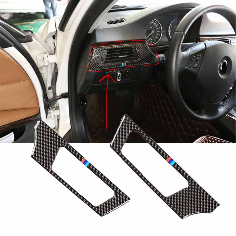 Realmente fibra de carbono coche consola salida de aire acondicionado Ventilación cubierta decorativa marco pegatinas para BMW E90 E92 E93 coche-estilismo