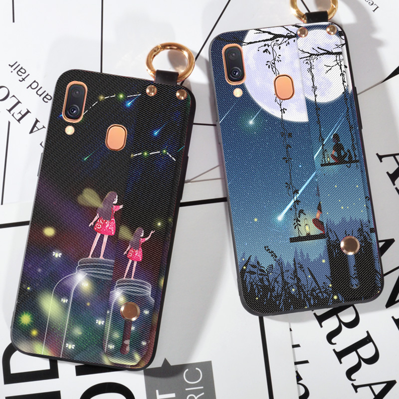 Wrist Lanyard TPU Cases For Samsung Galaxy A10 A20E M30 A40 A50 A51 A60 A70 A71 A80 A90 5G Pretty Girl Holder Shell Back Cover image