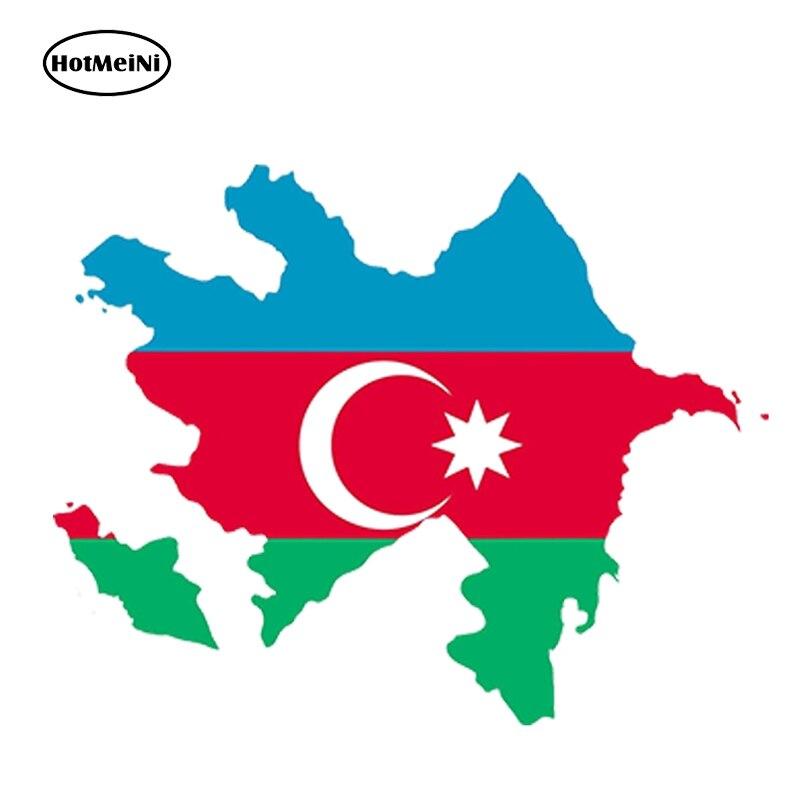 HotMeiNi 13cm X 11.2cm Car Styling Azerbaijan Map Flag Car Sticker Silhouette Helmet Car Fridge Door Waterproof Accessories