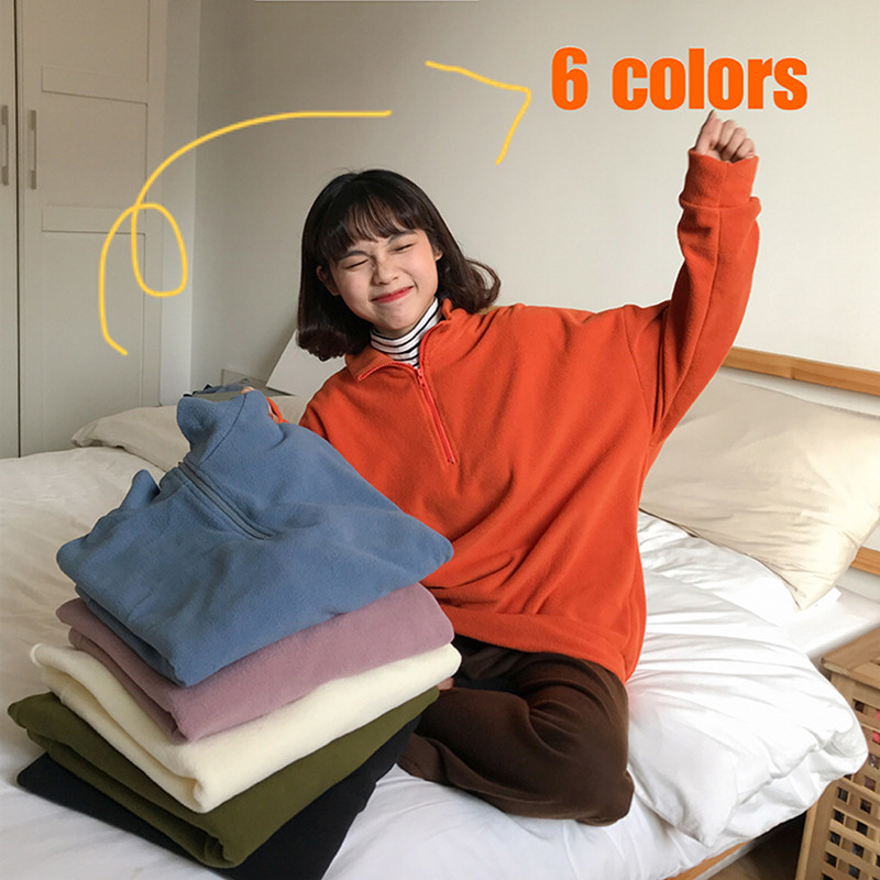6 Colors 2019 Autumn And Winter Korean Style Loose Solid Color Zipper Turtleneck Coat Womens Warm Sweatshirts Womens  (F3888)