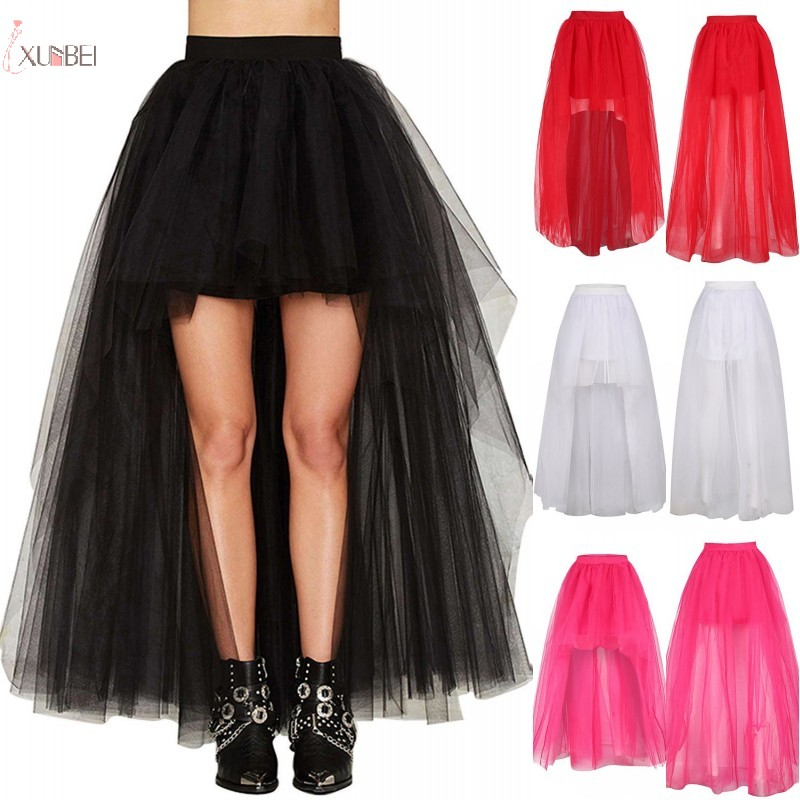 Black Tulle Long Petticoat Rockabilly 3 Layers High Low Woman Tutu Skirt Underskirt Slips Wedding Accessories 2020