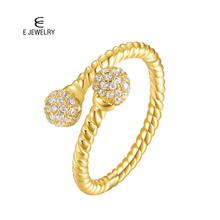 E Jewelry 925 Sterling Silver Opening Ring for women 14K Gold Plated Real Adjustable Finger Rings Fashion Trendy 2019