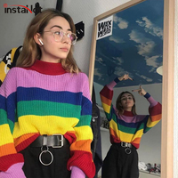 InstaHot Rainbow Sweater Long Sleeve Round Neck Women Autumn Winter Casual Loose Jumpers Streetwear Pullover Sweater 2019 New