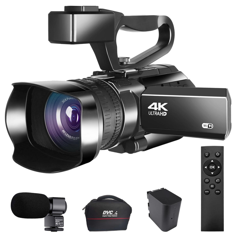 Цифровая видеокамера KOMERY 30X с цифровым зумом, видеорегистратор 4K, видеокамера 48 МП для прямой трансляции YouTube, Wi-Fi, ночное видение
