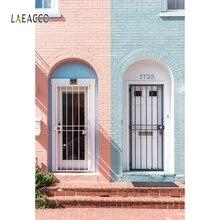 цена на Laeacco Apartment Pink Brick Wall Door Portrait Photography Backgrounds Customize Photographic Backdrops Props For Photo Studio