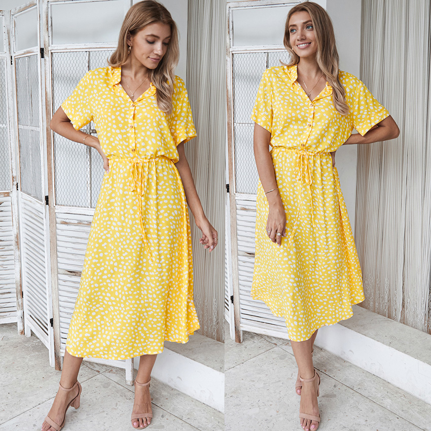 Dots Print White Short Sleeve Midi Boho Beach Dress 15