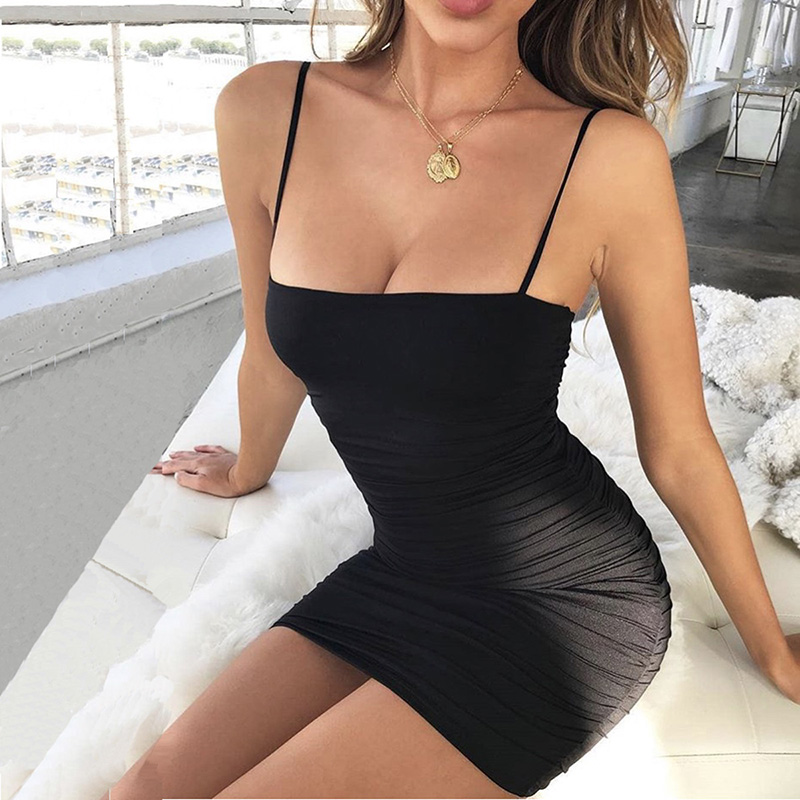 Fashion Spring Summer Dress Sexy Pleated Dresses Women Vestido Dresses Night Club Dresses Women Party Dress Slim Strapless Dress