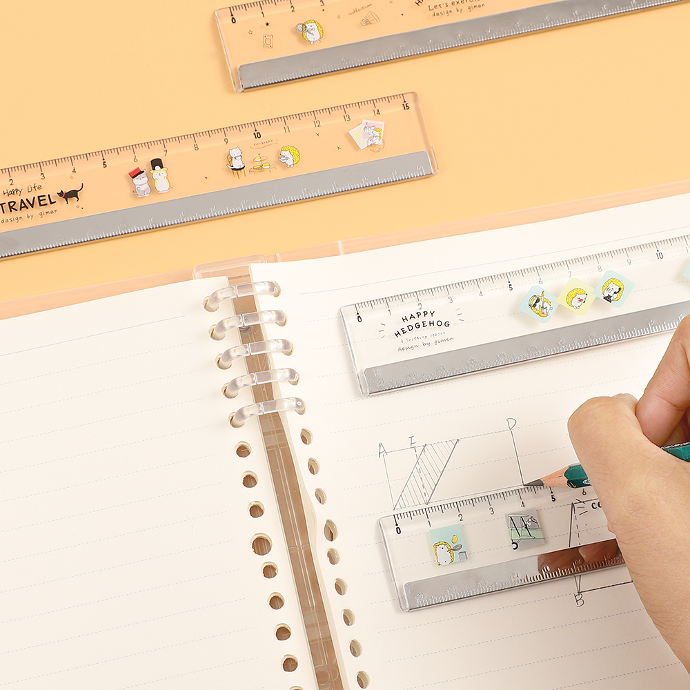 JIANWU 1pcs 15CM Cute Cartoon Transparent Ruler With Steel Edge For Kids Thicken Drawing Ruler School Supplies Drawing Supplies