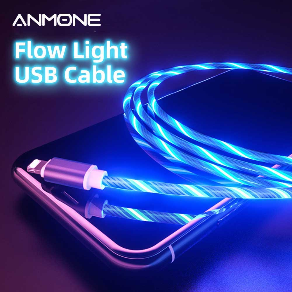 ANMONE USB Charger Cable LED Glow Flowing Light Data Cord Micro USB Type C Charge Colorful Charging for Samsung Galaxy S8 S9|Mobile Phone Cables|   - AliExpress
