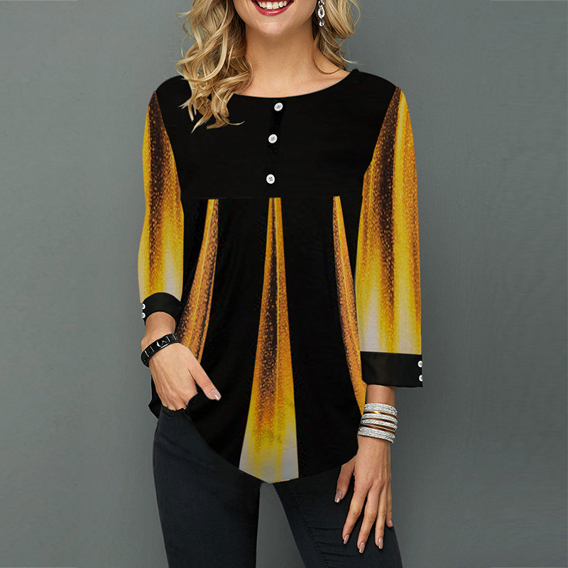 Vintage Blouse Women Casual Plus Size Loose Women's Shirt Spring Autumn O Neck 3/4 Sleeve Women Tunic Patchwork Female Shirts