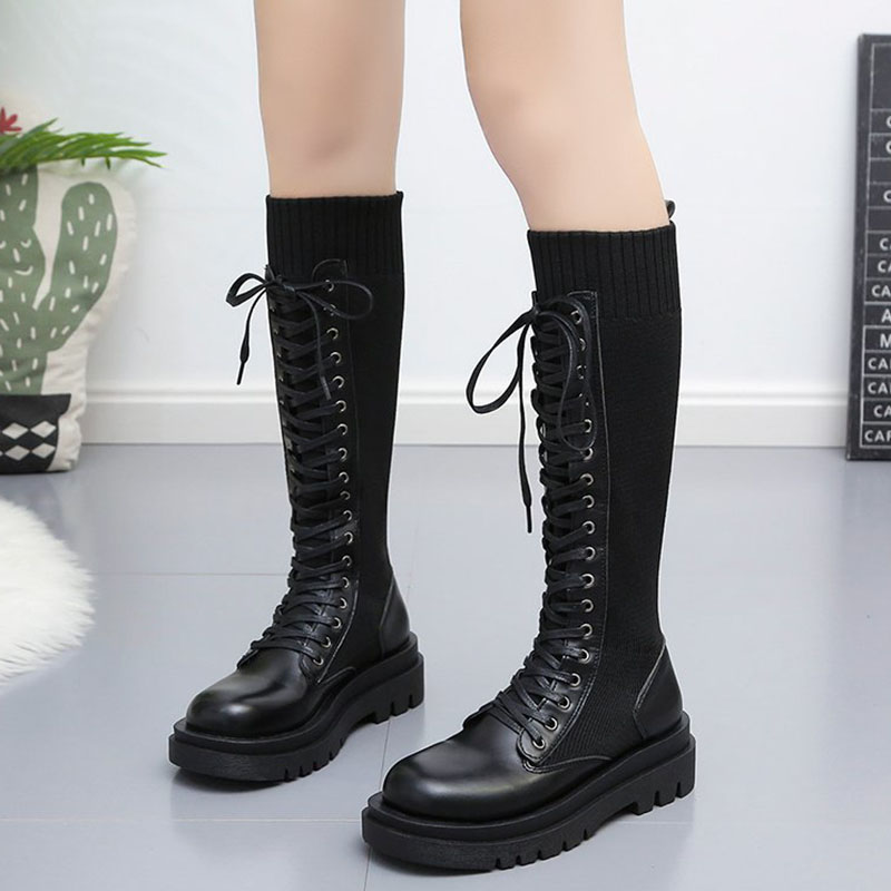 Lace Up Knitted Leather Boots  1