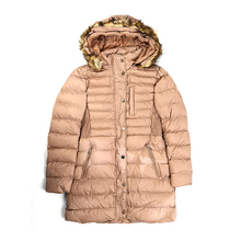 S-2XL Winter Detachable Fur Collar Hat and Long Sections Slim Warm Cotton Coat Womens Fashion Outerwear Solid Thick Clouthes