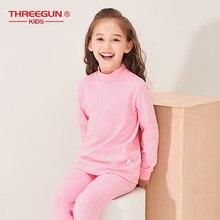 THREEGUN KIDS 子供ロング熱下着子供の冬の綿ソフトロング男の子女の子タートルネックナイトウェアパジャマ