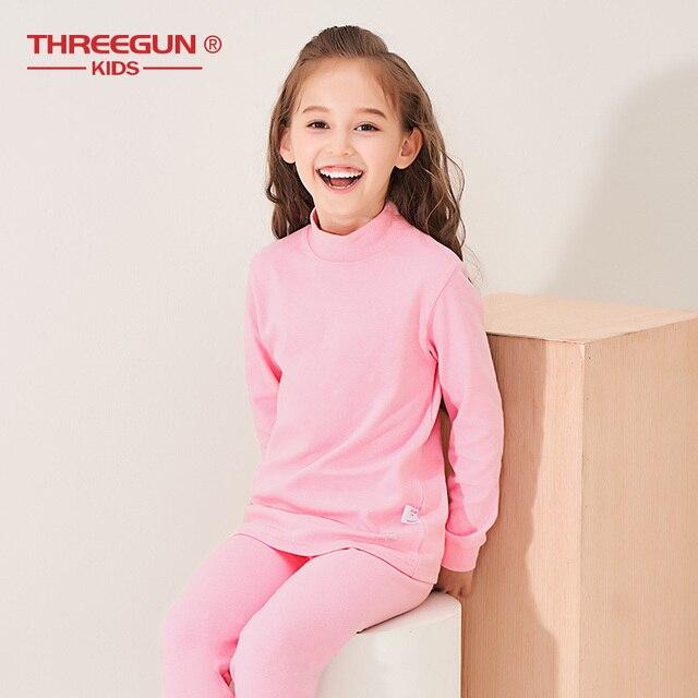 THREEGUN KIDS длинное термобелье; Детские Зимние хлопковые мягкие подштанники для мальчиков и девочек; одежда для сна с высоким воротом