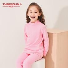 THREEGUN ילדים ילדי ארוך תחתונים תרמיים ילדים חורף כותנה רך תחתונים ארוכים בני בנות צב צוואר Nightwear הלבשת
