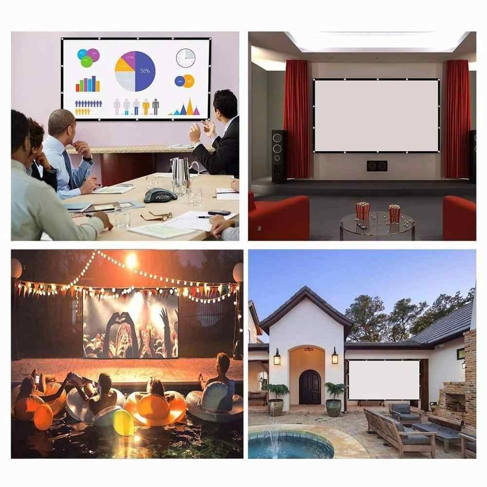 TRANSJEE projecteur Simple rideau 4:3 maison extérieur bureau Portable 3D HD écran de projecteur