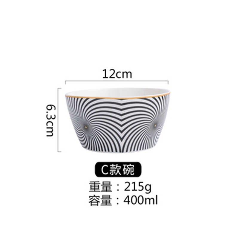 Pola Geometris Keramik Mangkuk Salad Europen Gaya Mie Wadah untuk Salad Mangkuk Sup Ceramica Set Alat Dapur Peralatan Makan